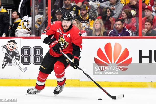 Dion Phaneuf of the Ottawa Senators skates the puck against the Pittsburgh Penguins in Game Four of the Eastern Conference Final during the 2017 NHL...