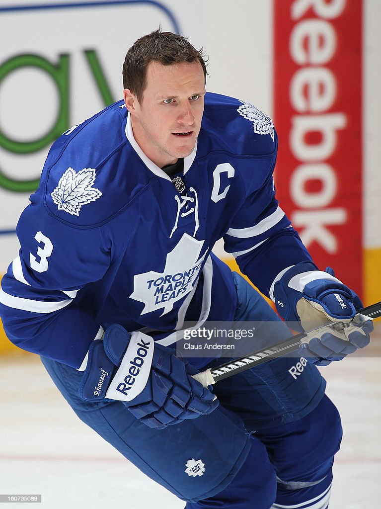 Dion Phaneuf #3 of the Toronto Maple Leafs skates in the warm-up prior to a game against the Washington Capitals on January 31, 2013 at the Air Canada Centre in Toronto, Canada. The Leafs defeated the Capitals 3-2.