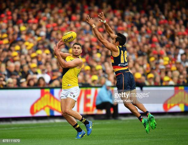 Dion Prestia of the Tigers handballs over Eddie Betts of the Crows during the round six AFL match between the Adelaide Crows and the Richmond Tigers...