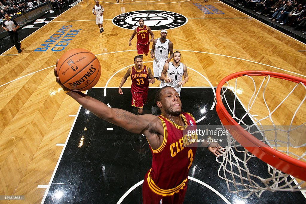 Dion Waiters #3 of the Cleveland Cavalier dunks against the Brooklyn Nets on November 13, 2012 at the Barclays Center in the Brooklyn Borough of New York City.