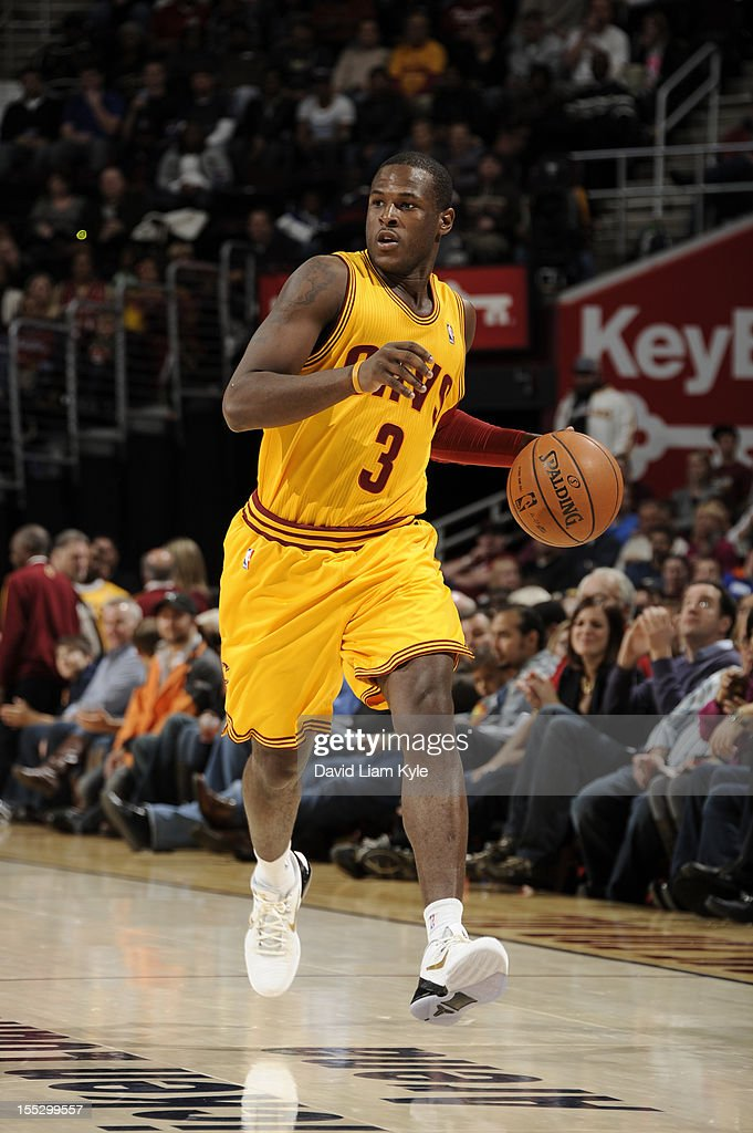 <a gi-track='captionPersonalityLinkClicked' href=/galleries/search?phrase=Dion+Waiters&family=editorial&specificpeople=6902921 ng-click='$event.stopPropagation()'>Dion Waiters</a> #3 of the Cleveland Cavaliers brings the ball down the court against the Chicago Bulls at The Quicken Loans Arena on November 2, 2012 in Cleveland, Ohio.