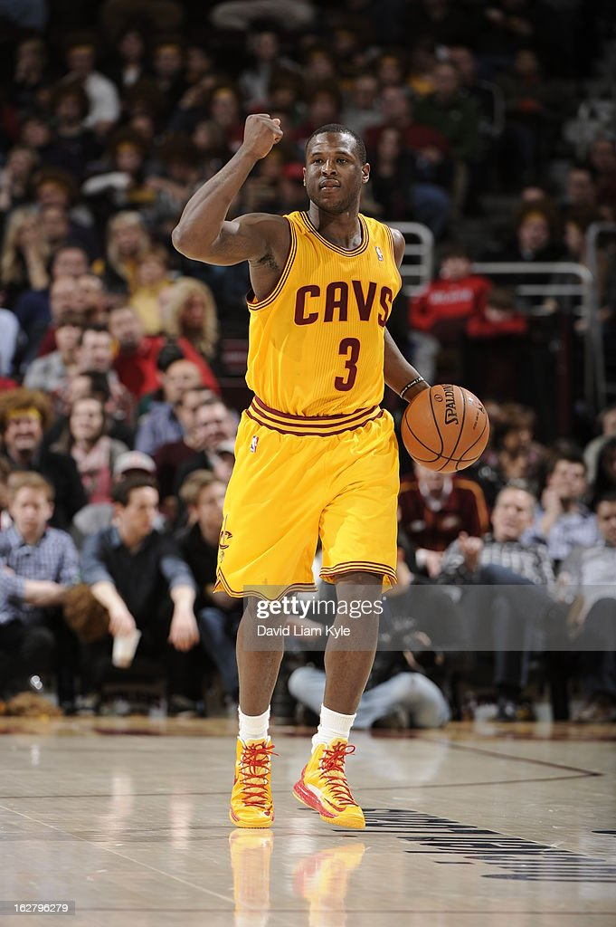 <a gi-track='captionPersonalityLinkClicked' href=/galleries/search?phrase=Dion+Waiters&family=editorial&specificpeople=6902921 ng-click='$event.stopPropagation()'>Dion Waiters</a> #3 of the Cleveland Cavaliers brings the ball up court during the game against the Atlanta Hawks at The Quicken Loans Arena on December 28, 2012 in Cleveland, Ohio.
