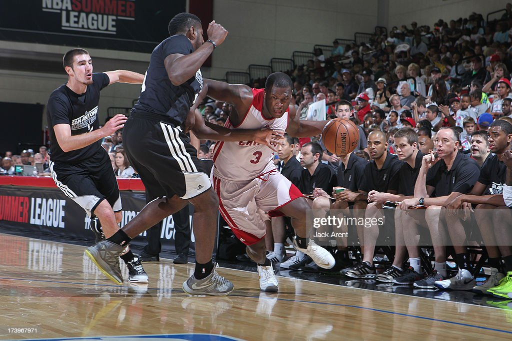 Dion Waiters #3 of the Cleveland Cavaliers dribbles the ball against the San Antonio Spurs during NBA Summer League on July 18, 2013 at Cox Pavilion in Las Vegas, Nevada.