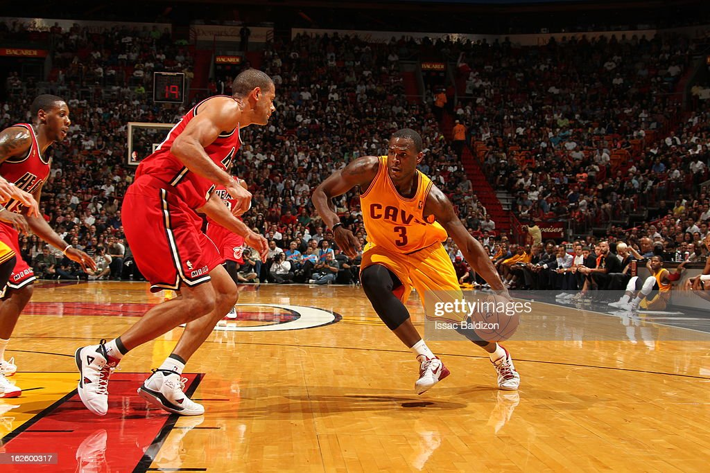 <a gi-track='captionPersonalityLinkClicked' href=/galleries/search?phrase=Dion+Waiters&family=editorial&specificpeople=6902921 ng-click='$event.stopPropagation()'>Dion Waiters</a> #3 of the Cleveland Cavaliers drives during a game between the Cleveland Cavaliers and the Miami Heat on February 24, 2013 at American Airlines Arena in Miami, Florida.