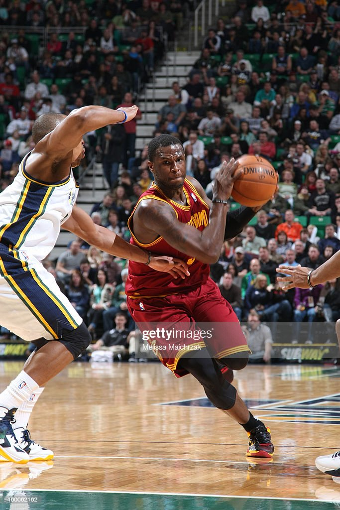 <a gi-track='captionPersonalityLinkClicked' href=/galleries/search?phrase=Dion+Waiters&family=editorial&specificpeople=6902921 ng-click='$event.stopPropagation()'>Dion Waiters</a> #3 of the Cleveland Cavaliers drives to the basket against the Utah Jazz on January 19, 2013 in Salt Lake City, Utah.