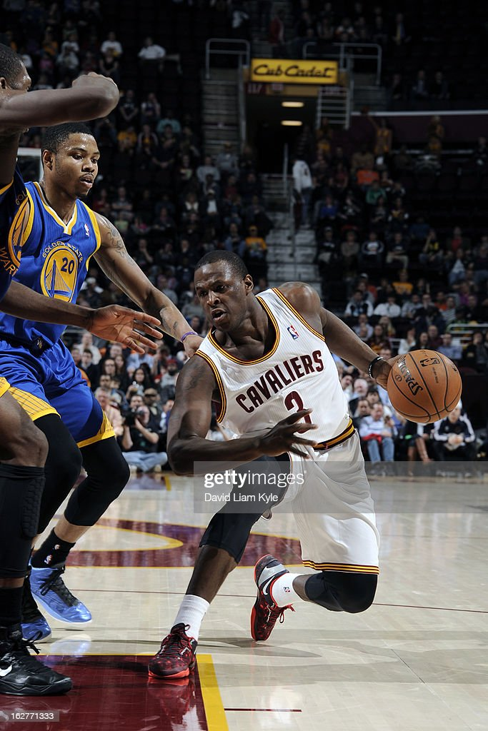 <a gi-track='captionPersonalityLinkClicked' href=/galleries/search?phrase=Dion+Waiters&family=editorial&specificpeople=6902921 ng-click='$event.stopPropagation()'>Dion Waiters</a> #3 of the Cleveland Cavaliers drives to the basket against the Golden State Warriors at The Quicken Loans Arena on January 29, 2013 in Cleveland, Ohio.