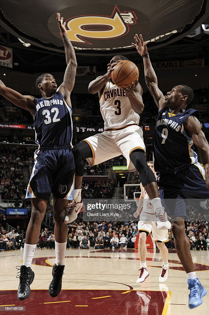 <a gi-track='captionPersonalityLinkClicked' href=/galleries/search?phrase=Dion+Waiters&family=editorial&specificpeople=6902921 ng-click='$event.stopPropagation()'>Dion Waiters</a> #3 of the Cleveland Cavaliers drives to the basket against the Memphis Grizzlies at The Quicken Loans Arena on March 8, 2013 in Cleveland, Ohio.