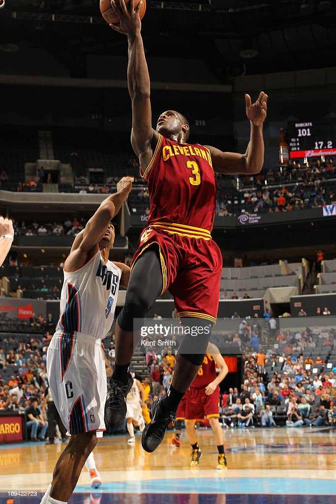 <a gi-track='captionPersonalityLinkClicked' href=/galleries/search?phrase=Dion+Waiters&family=editorial&specificpeople=6902921 ng-click='$event.stopPropagation()'>Dion Waiters</a> #3 of the Cleveland Cavaliers drives to the basket against the Charlotte Bobcats at the Time Warner Cable Arena on April 17, 2013 in Charlotte, North Carolina.