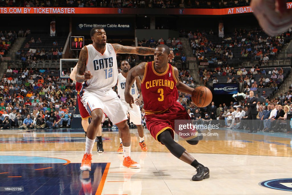 <a gi-track='captionPersonalityLinkClicked' href=/galleries/search?phrase=Dion+Waiters&family=editorial&specificpeople=6902921 ng-click='$event.stopPropagation()'>Dion Waiters</a> #3 of the Cleveland Cavaliers drives to the basket against the Charlotte Bobcats of the Charlotte Bobcats at the Time Warner Cable Arena on April 17, 2013 in Charlotte, North Carolina.