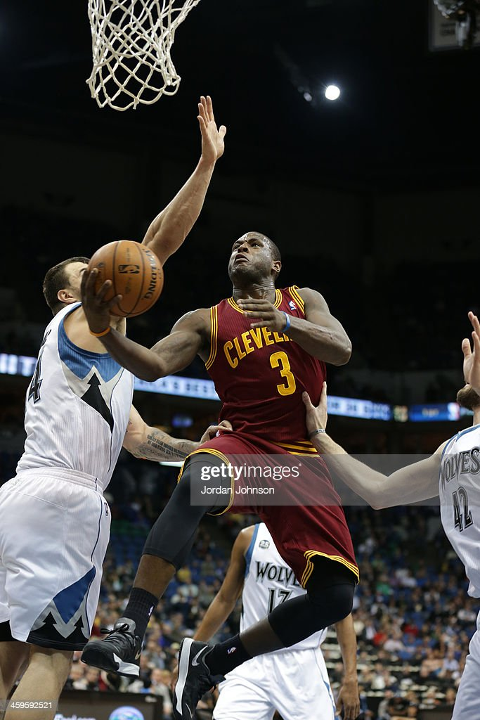 <a gi-track='captionPersonalityLinkClicked' href=/galleries/search?phrase=Dion+Waiters&family=editorial&specificpeople=6902921 ng-click='$event.stopPropagation()'>Dion Waiters</a> #3 of the Cleveland Cavaliers drives to the basket against the Minnesota Timberwolves on November 13, 2013 at Target Center in Minneapolis, Minnesota.