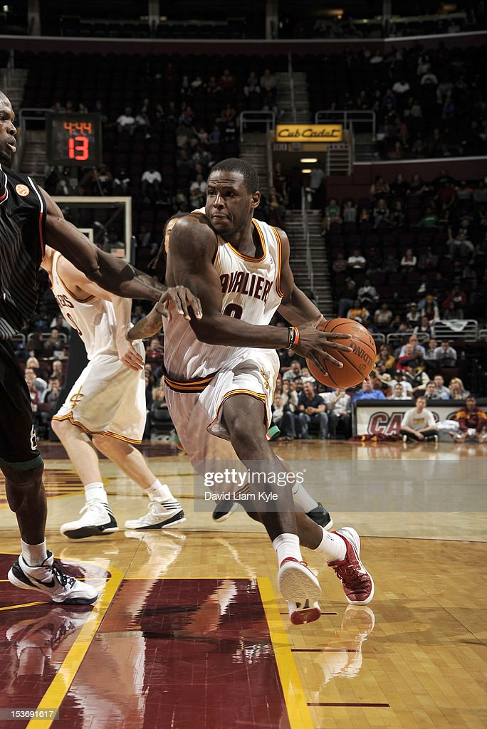 <a gi-track='captionPersonalityLinkClicked' href=/galleries/search?phrase=Dion+Waiters&family=editorial&specificpeople=6902921 ng-click='$event.stopPropagation()'>Dion Waiters</a> #3 of the Cleveland Cavaliers drives to the hoop against the Montepaschi Siena at The Quicken Loans Arena on October 8, 2012 in Cleveland, Ohio.