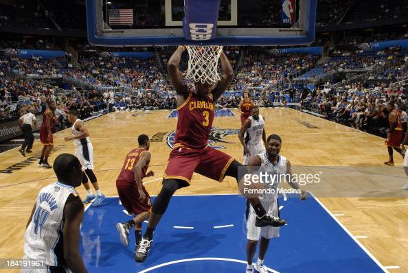 Dion Waiters of the Cleveland Cavaliers dunks the ball against the Orlando Magic during the game on October 11 2013 at Amway Center in Orlando...