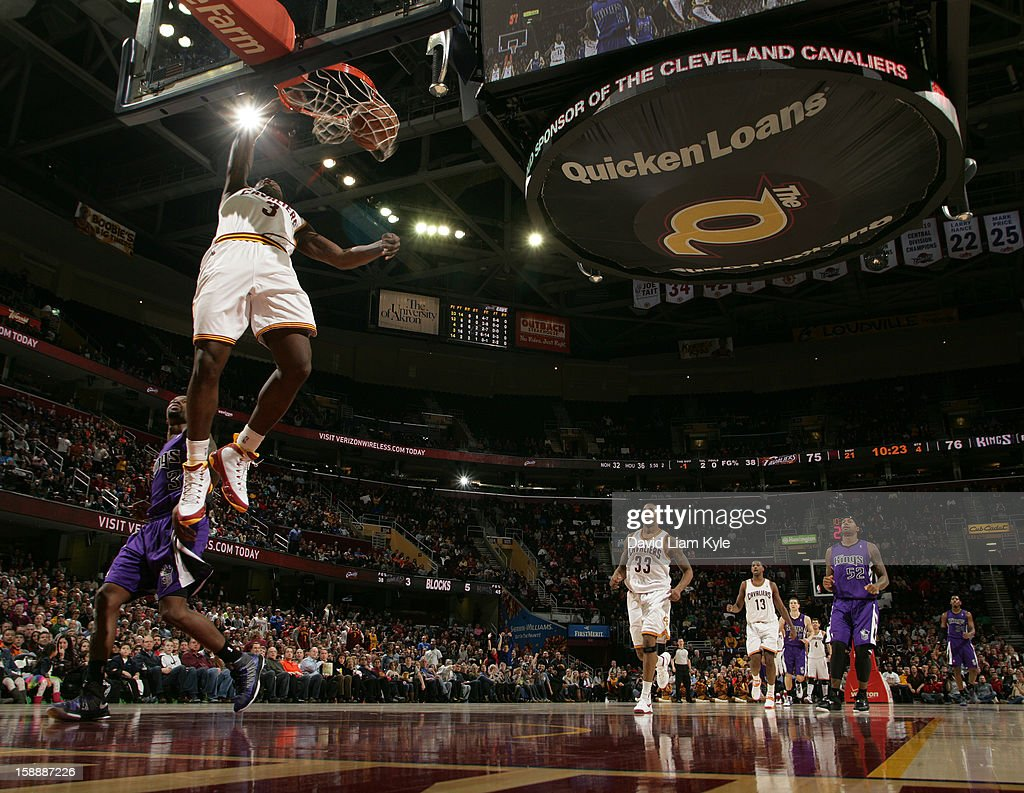 Dion Waiters #3 of the Cleveland Cavaliers finishes the fast break with a dunk against the Sacramento Kings at The Quicken Loans Arena on January 2, 2013 in Cleveland, Ohio.