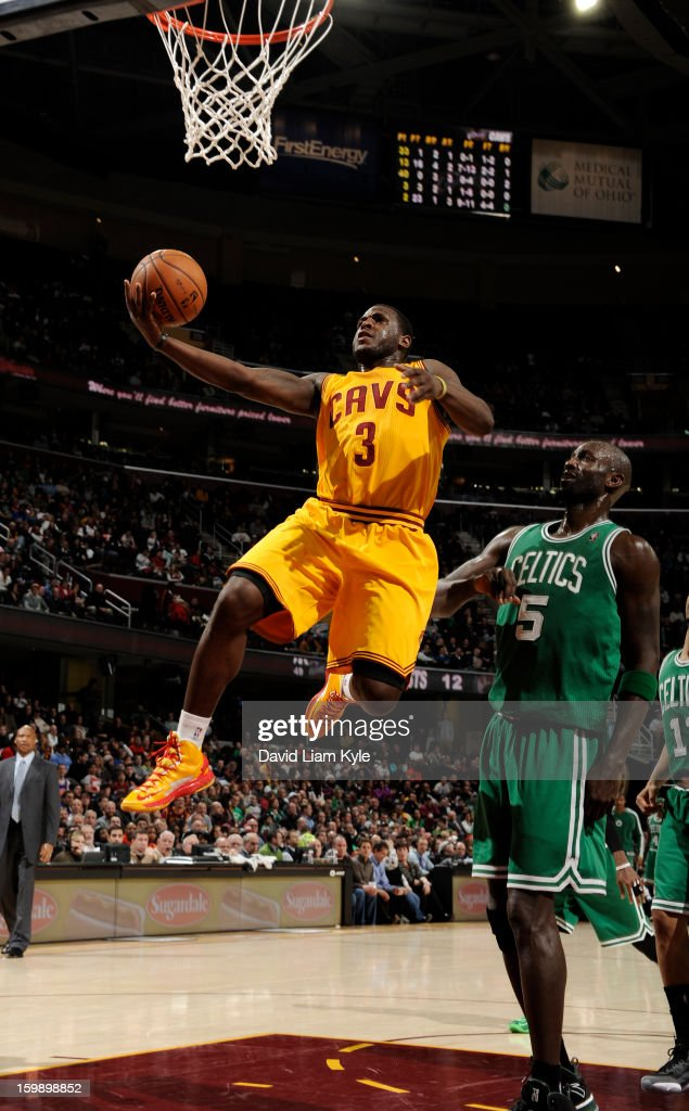 Dion Waiters #3 of the Cleveland Cavaliers goes to the basket against Kevin Garnett #5 of the Boston Celtics at The Quicken Loans Arena on January 22, 2013 in Cleveland, Ohio.