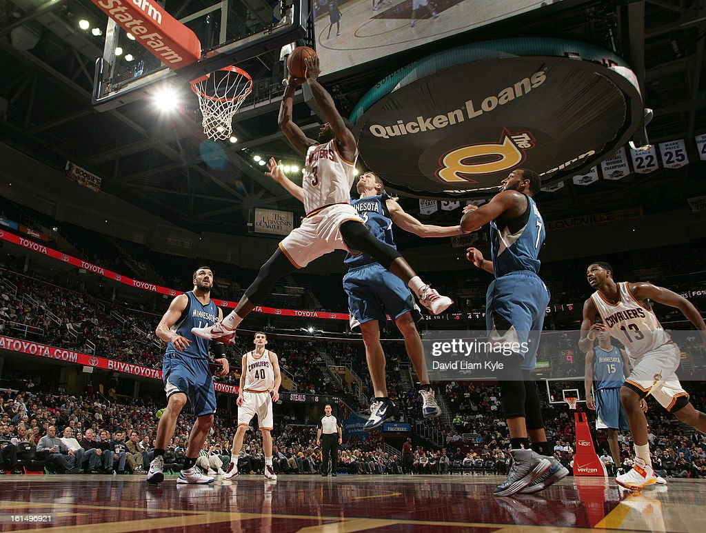 <a gi-track='captionPersonalityLinkClicked' href=/galleries/search?phrase=Dion+Waiters&family=editorial&specificpeople=6902921 ng-click='$event.stopPropagation()'>Dion Waiters</a> #3 of the Cleveland Cavaliers goes to the basket against <a gi-track='captionPersonalityLinkClicked' href=/galleries/search?phrase=Luke+Ridnour&family=editorial&specificpeople=201824 ng-click='$event.stopPropagation()'>Luke Ridnour</a> #13 of the Minnesota Timberwolves at The Quicken Loans Arena on February 11, 2013 in Cleveland, Ohio.