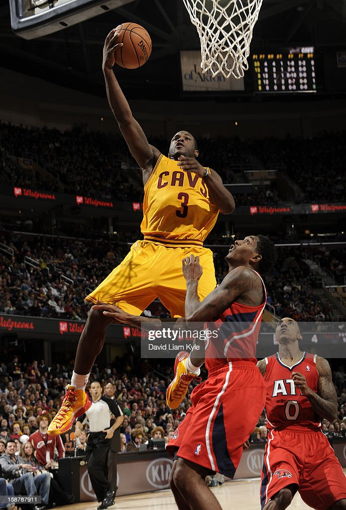 Dion Waiters #3 of the Cleveland Cavaliers goes up for the layup against Louis Williams #3 of the Atlanta Hawks at The Quicken Loans Arena on December 28, 2012 in Cleveland, Ohio.