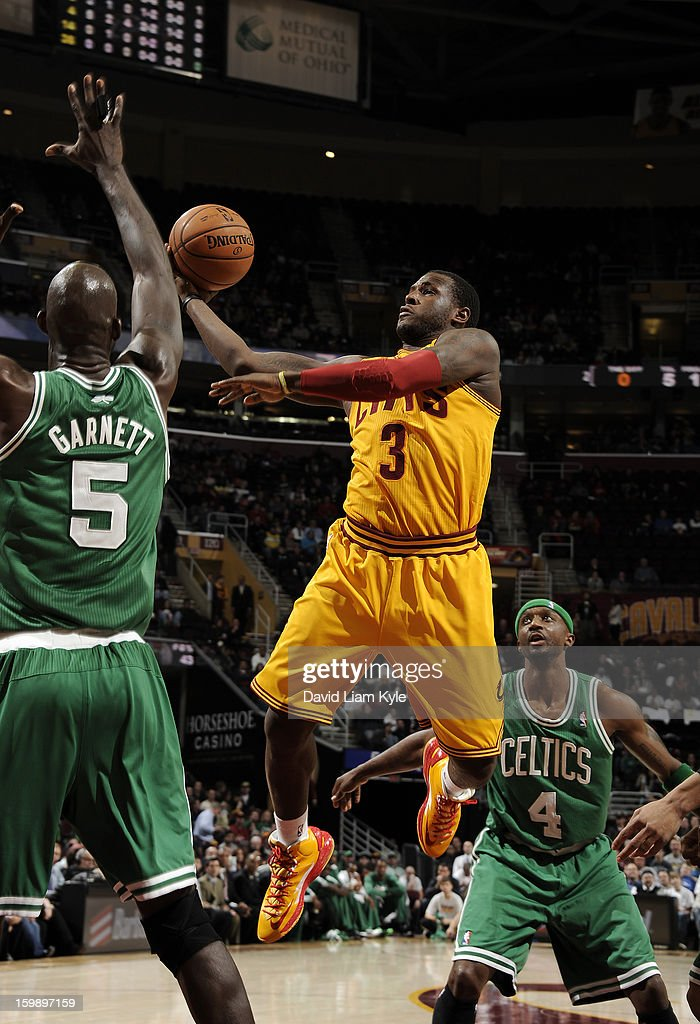 Dion Waiters #3 of the Cleveland Cavaliers goes up for the shot against Kevin Garnett #5 of the Boston Celtics at The Quicken Loans Arena on January 22, 2013 in Cleveland, Ohio.