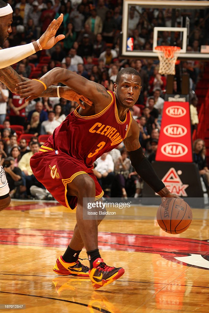 <a gi-track='captionPersonalityLinkClicked' href=/galleries/search?phrase=Dion+Waiters&family=editorial&specificpeople=6902921 ng-click='$event.stopPropagation()'>Dion Waiters</a> #3 of the Cleveland Cavaliers handles the ball against the Miami Heat on November 24, 2012 at American Airlines Arena in Miami, Florida.