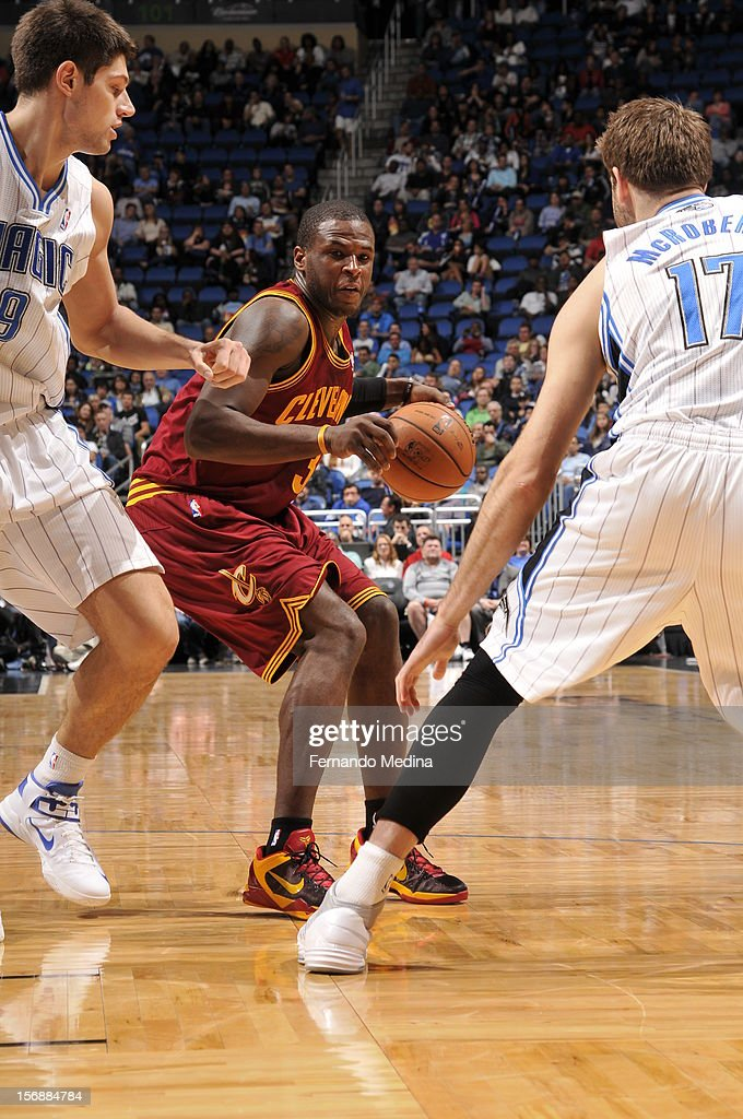 Dion Waiters #3 of the Cleveland Cavaliers looks to make a move against the Orlando Magic on November 23, 2012 at Amway Center in Orlando, Florida.