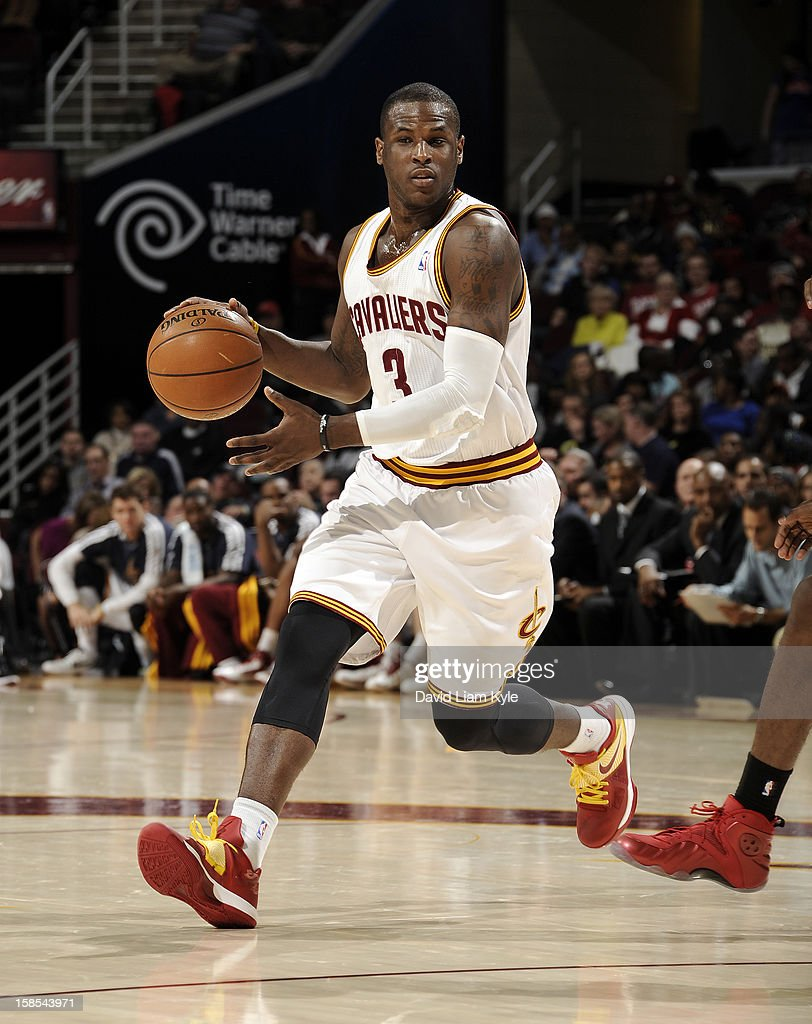<a gi-track='captionPersonalityLinkClicked' href=/galleries/search?phrase=Dion+Waiters&family=editorial&specificpeople=6902921 ng-click='$event.stopPropagation()'>Dion Waiters</a> #3 of the Cleveland Cavaliers moves the ball around the perimeter against the Toronto Raptors at The Quicken Loans Arena on December 18, 2012 in Cleveland, Ohio.