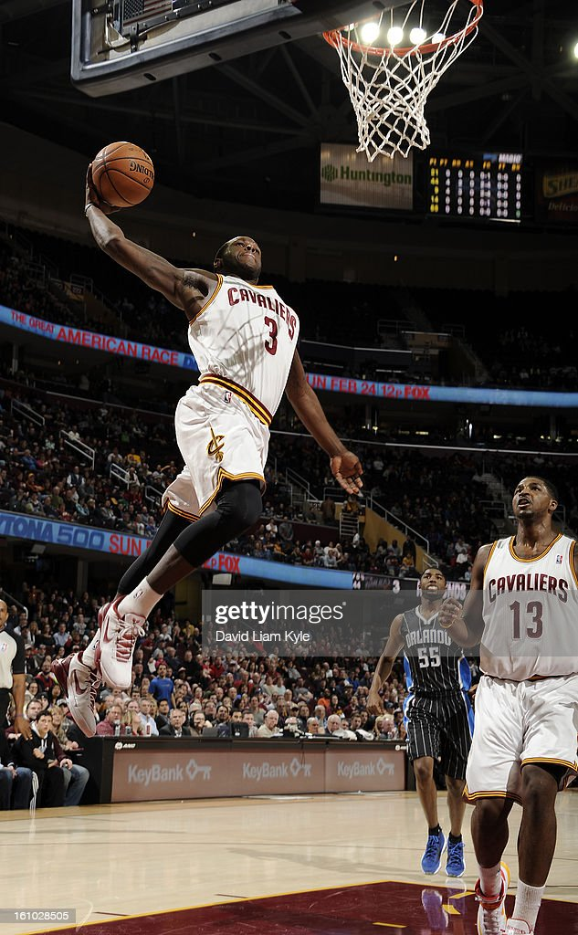 Dion Waiters #3 of the Cleveland Cavaliers rises for a dunk against the Orlando Magic at The Quicken Loans Arena on February 8, 2013 in Cleveland, Ohio.