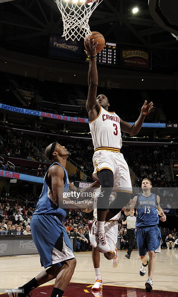 Dion Waiters #3 of the Cleveland Cavaliers shoots a layup against Dante Cunningham #33 of the Minnesota Timberwolves at The Quicken Loans Arena on February 11, 2013 in Cleveland, Ohio.