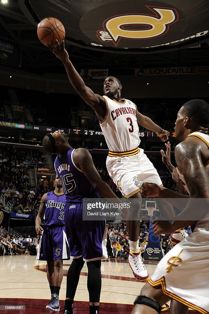 Dion Waiters #3 of the Cleveland Cavaliers shoots a layup against DeMarcus Cousins #15 of the Sacramento Kings at The Quicken Loans Arena on January 2, 2013 in Cleveland, Ohio.