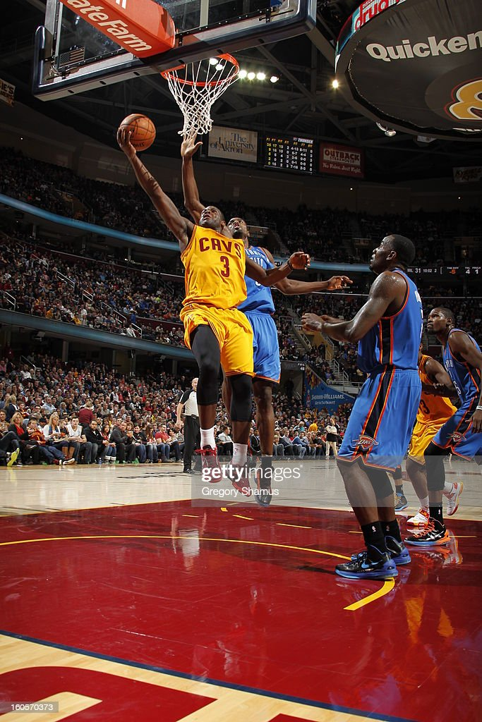 Dion Waiters #3 of the Cleveland Cavaliers shoots a layup against the Oklahoma City Thunder at The Quicken Loans Arena on February 2, 2013 in Cleveland, Ohio.