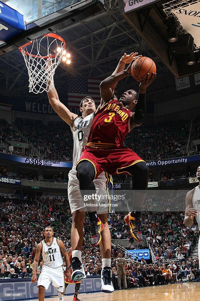 <a gi-track='captionPersonalityLinkClicked' href=/galleries/search?phrase=Dion+Waiters&family=editorial&specificpeople=6902921 ng-click='$event.stopPropagation()'>Dion Waiters</a> #3 of the Cleveland Cavaliers shoots against <a gi-track='captionPersonalityLinkClicked' href=/galleries/search?phrase=Enes+Kanter&family=editorial&specificpeople=5621416 ng-click='$event.stopPropagation()'>Enes Kanter</a> #0 of the Utah Jazz at Energy Solutions Arena on January 19, 2013 in Salt Lake City, Utah.
