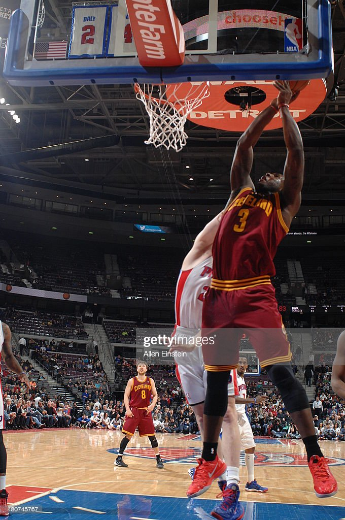 <a gi-track='captionPersonalityLinkClicked' href=/galleries/search?phrase=Dion+Waiters&family=editorial&specificpeople=6902921 ng-click='$event.stopPropagation()'>Dion Waiters</a> #3 of the Cleveland Cavaliers shoots against the Detroit Pistons on March 26, 2014 at The Palace of Auburn Hills in Auburn Hills, Michigan.