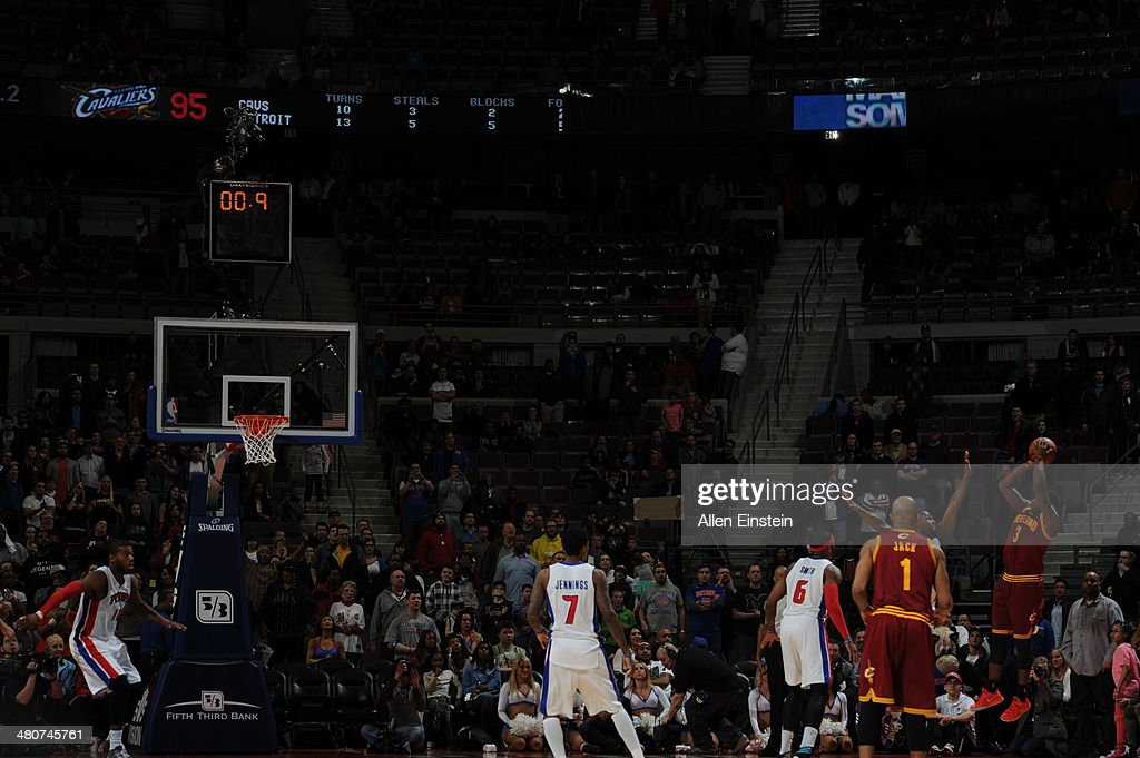 <a gi-track='captionPersonalityLinkClicked' href=/galleries/search?phrase=Dion+Waiters&family=editorial&specificpeople=6902921 ng-click='$event.stopPropagation()'>Dion Waiters</a> #3 of the Cleveland Cavaliers shoots the game winning basket against the Detroit Pistons on March 26, 2014 at The Palace of Auburn Hills in Auburn Hills, Michigan.