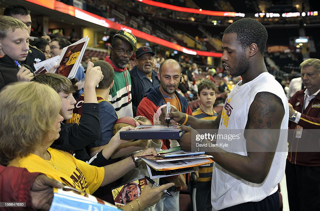 <a gi-track='captionPersonalityLinkClicked' href=/galleries/search?phrase=Dion+Waiters&family=editorial&specificpeople=6902921 ng-click='$event.stopPropagation()'>Dion Waiters</a> #3 of the Cleveland Cavaliers signs autographs for fans prior to the game against the Dallas Mavericks at The Quicken Loans Arena on November 17, 2012 in Cleveland, Ohio.