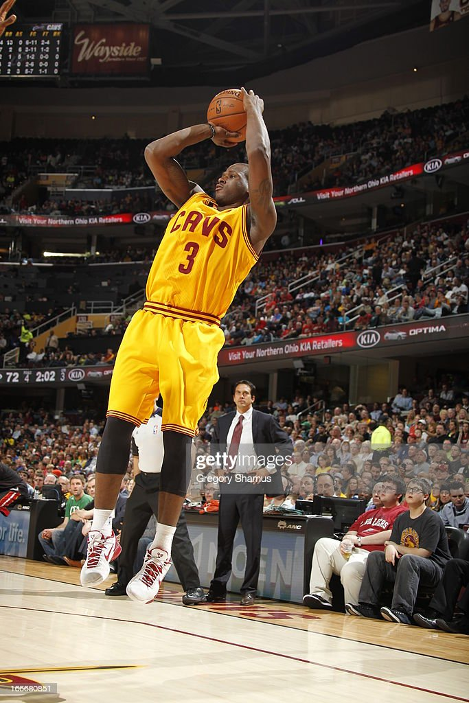 Dion Waiters #3 of the Cleveland Cavaliers takes an open shot during the game against the Miami Heat at The Quicken Loans Arena on April 15, 2013 in Cleveland, Ohio.