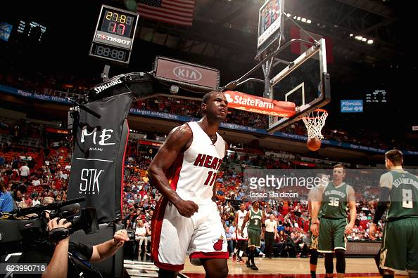 Dion Waiters of the Miami Heat celebrates after making a basket against the Milwaukee Bucks on November 17 2016 at American Airlines Arena in Miami...