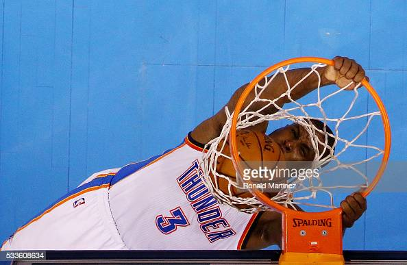 Dion Waiters of the Oklahoma City Thunder dunks in the first half against the Golden State Warriors in game three of the Western Conference Finals...