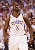 Dion Waiters of the Oklahoma City Thunder reacts in the first quater against the Golden State Warriors in game four of the Western Conference Finals...