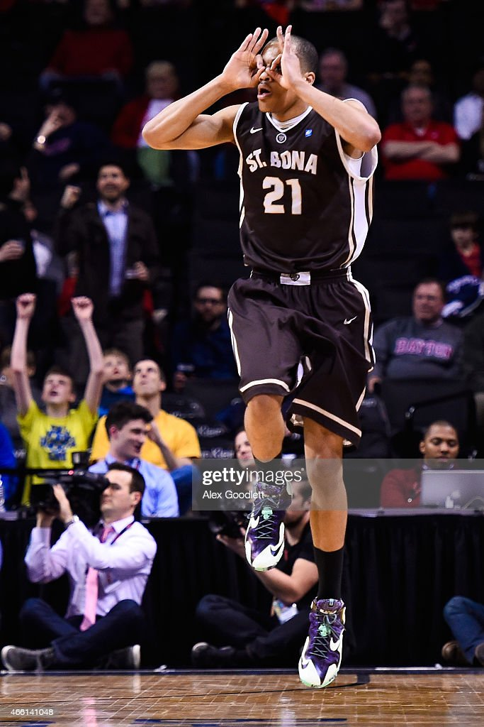 Dion Wright of the St Bonaventure Bonnies celebrates a basket during a quarterfinal game against the Dayton Flyers in the 2015 Men's Atlantic 10...