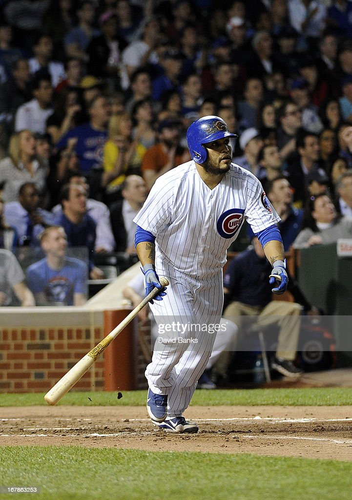 <a gi-track='captionPersonalityLinkClicked' href=/galleries/search?phrase=Dioner+Navarro&family=editorial&specificpeople=593062 ng-click='$event.stopPropagation()'>Dioner Navarro</a> #30 of the Chicago Cubs hits a two-run double against the San Diego Padres during the third inning on May 1, 2013 at Wrigley Field in Chicago, Illinois.