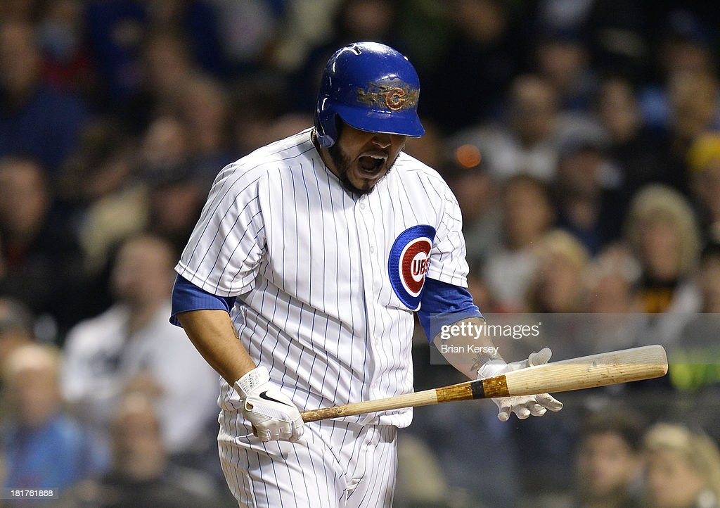 <a gi-track='captionPersonalityLinkClicked' href=/galleries/search?phrase=Dioner+Navarro&family=editorial&specificpeople=593062 ng-click='$event.stopPropagation()'>Dioner Navarro</a> #30 of the Chicago Cubs reacts after striking out during the sixth inning against the Pittsburgh Pirates at Wrigley Field on September 24, 2013 in Chicago, Illinois.