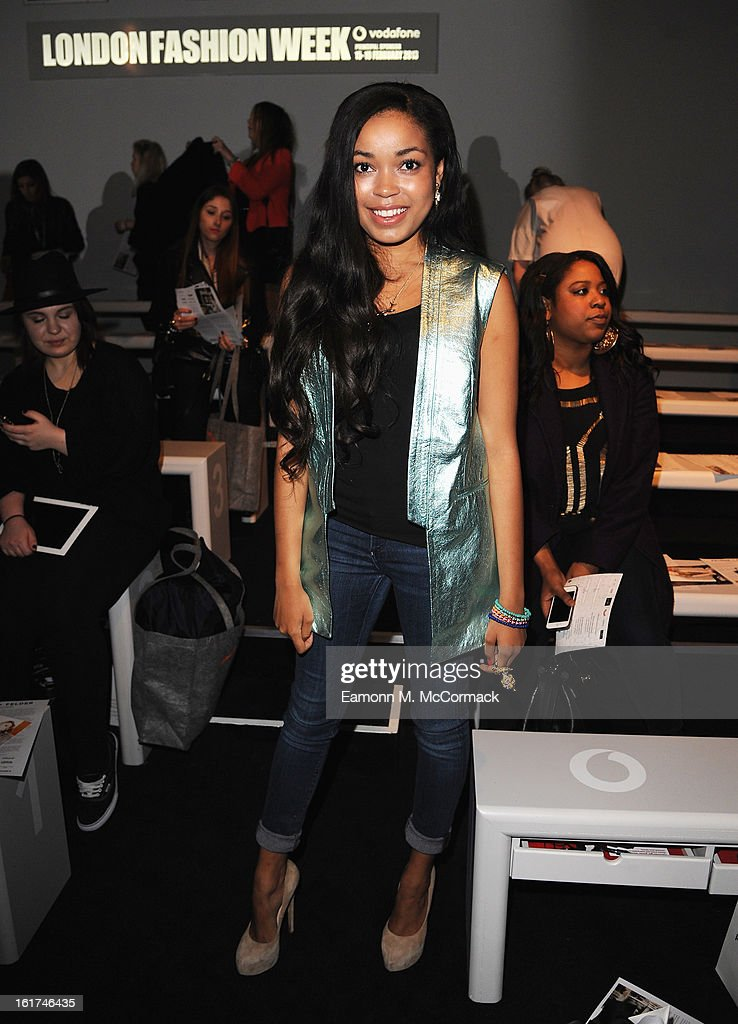 Dionne Bromfield attends the Felder Felder show during London Fashion Week Fall/Winter 2013/14 at Somerset House on February 15, 2013 in London, England.