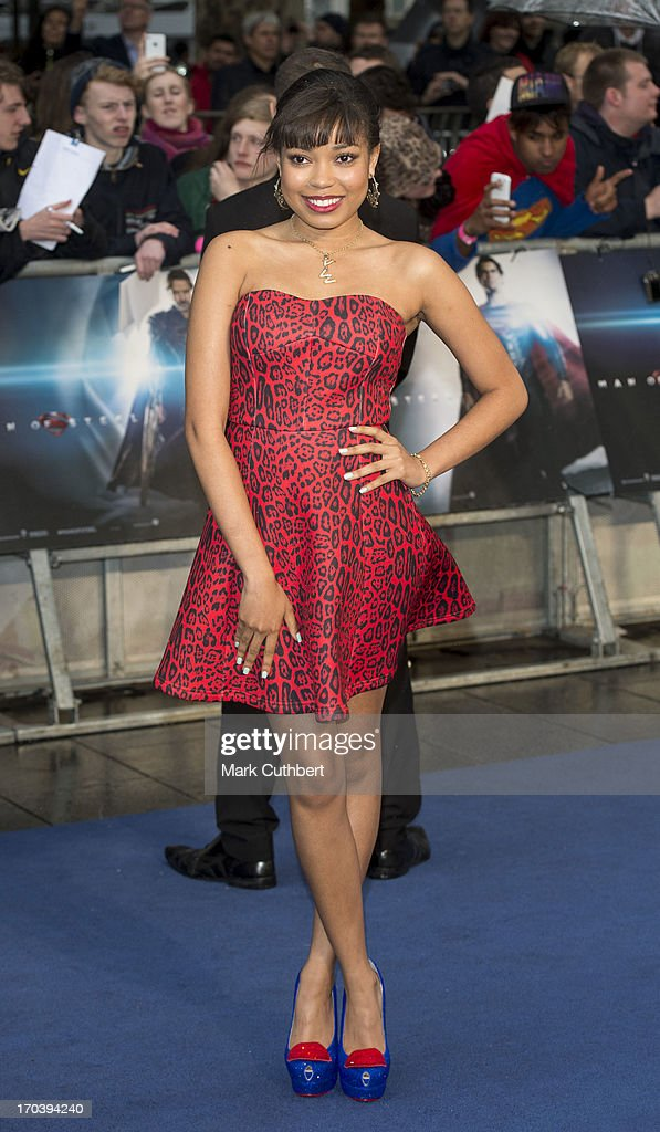 Dionne Bromfield attends the UK Premiere of 'Man of Steel' at Odeon Leicester Square on June 12, 2013 in London, England.