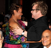 Dionne Warwick and Elton John attends the amfAR New York Gala to kick off Fall 2011 Fashion Week at Cipriani Wall Street on February 9 2011 in New...