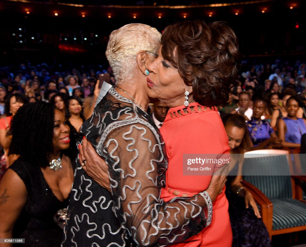 Dionne Warwick and Maxine Waters attend Black Girls Rock! 2017 backstage at NJPAC on August 5, 2017 in Newark, New Jersey.