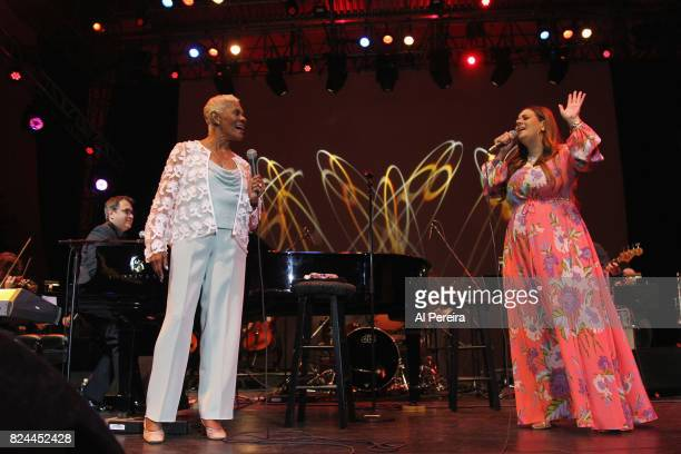 Dionne Warwick and Rumer perform together during 'Lincoln Center Out Of Doors An Evening With Rumer' at Damrosch Park Lincoln Center on July 29 2017...