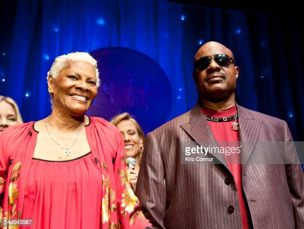 Dionne Warwick and Stevie Wonder perform during the 2012 Library of Congress Gershwin Prize for Popular Song at The Library of Congress on May 8 2012...