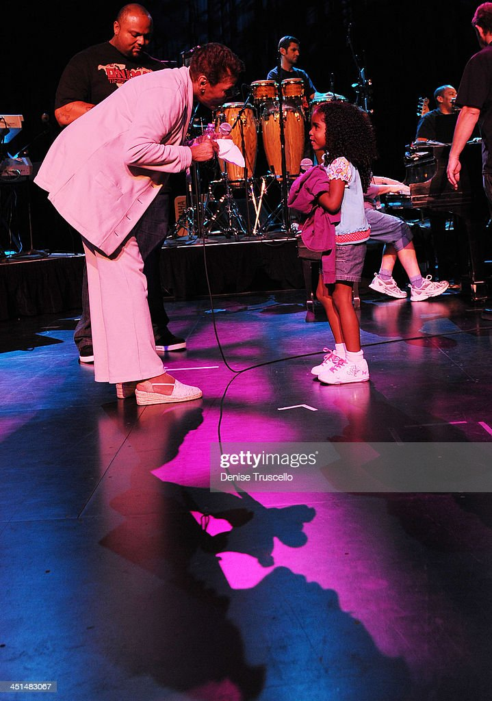 Dionne Warwick sings with her grand-daughter Lealand Elliott during a sound check at Eric Floyd's Grand Divas of Stage at the Las Vegas Hilton on May 21, 2010 in Las Vegas, Nevada.