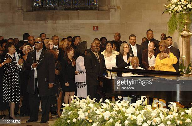 Dionne Warwick Stevie Wonder Valarie Simpson Usher Aretha Franklin Donnie Harper Alicia Keys Patti LaBelle and guests at the funeral service for...