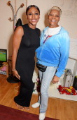 Dionne Warwick visits Alexandra Burke backstage at the West End production of 'The Bodyguard' at the Adelphi Theatre on June 12 2014 in London England