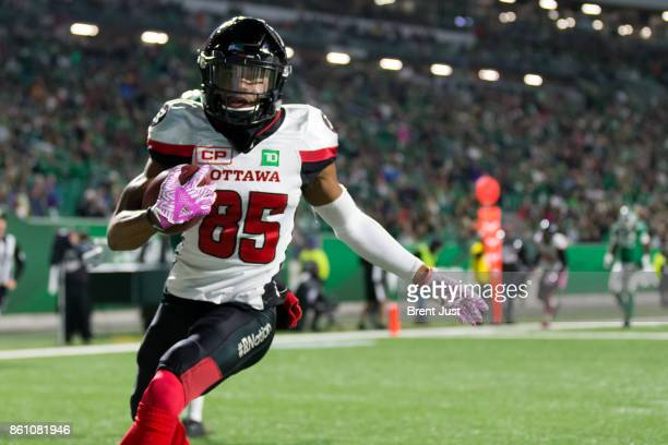 Diontae Spencer of the Ottawa Redblacks after making a touchdown catch in the first half of the game against the Saskatchewan Roughriders at Mosaic...