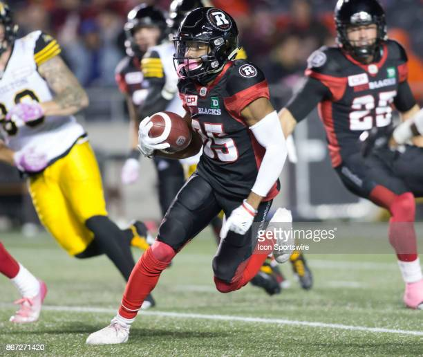 Diontae Spencer of the Ottawa Redblacks cuts upfield against the Hamilton TigerCats in Canadian Football League play at TD Place Stadium in Ottawa...